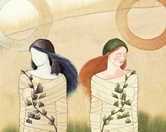 Shadow World - original watercolor painting - surreal fairytale fantasy watercolour - cocoon woman - dream otherworld owl - narrative