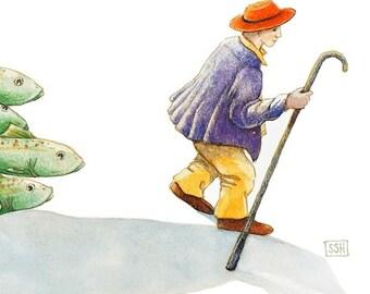 Fish Herder no. 2 - original watercolor painting - surreal fantasy fairytale watercolour - man school flying fish - illustration - narrative