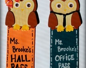 Magnetic Personalized Owl Hall Passes for Teachers