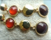 Ruby Red Grape Purple Hammered Golden Disc  Trio Long Post Earrings.  204