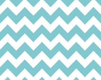 SALE 1/2 Yard Riley Blake Medium Chevron Aqua