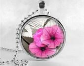 FLOWER Necklace, PETUNIA Flower Pendant, Flower Jewelry, Glass Art Pendant Charm, Petunias