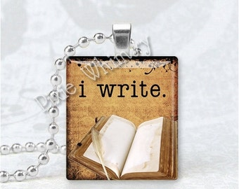 I WRITE, BOOK Jewelry, Book Scrabble Tile Altered Art Pendant Charm, Writers Jewelry