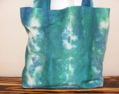 Blue/green hand dyed tote bag/market bag, handmade tote bag/market bag.