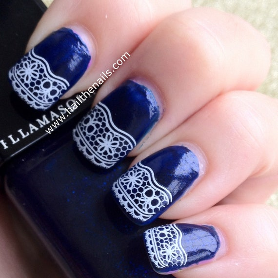 White Lace Nail Art Water Transfer Decal Y336