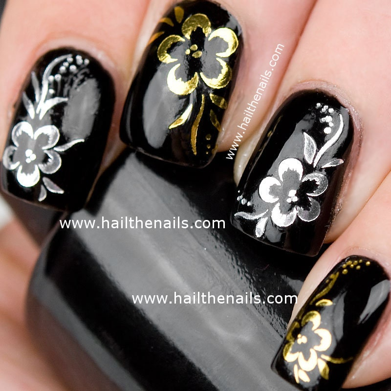Nail Art Black Gold Silver: Popular silver nail polish brands.