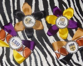 Sporty Bottlecap Set N'awlins Special LSU Tigers & Saints Hair Bow on Lined Alligator Clip