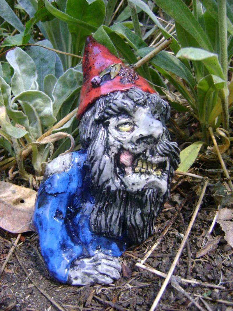 Gnome Garden: ZOMBIE GNOME Concrete Garden Sculpture Outdoors By