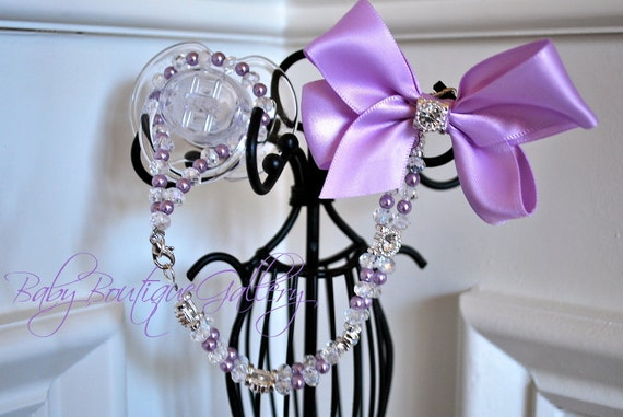 Gorgeous Baby Boutique 4-in-1 Lavender Beaded Pacifier Holder