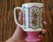 Pink Pedestal Floral Mug