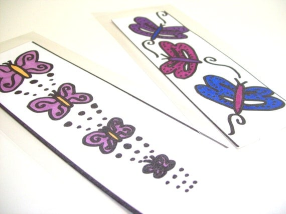 Laminated Bookmark Set of 2 with Butterflies