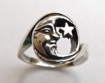 Moon and Star Ring-Celestial Jewelry-Man in Moon-Whimsical-Boho Chic-Urban Jewelry-Retro Jewelry -Storybook Moon- Sterling Silver