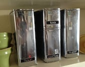 Set of 4 60's Lincoln Beautyware vintage aluminum canisters