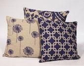 THROW PILLOW SET with Zipper18x18 Three Decorative Throw Pillows Blue 18 x 18 Throw Pillow Covers with Invisible Zipper