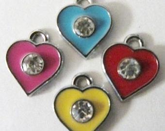 HEARTS (4) alloy with enamel paint, mixed color rhinestone