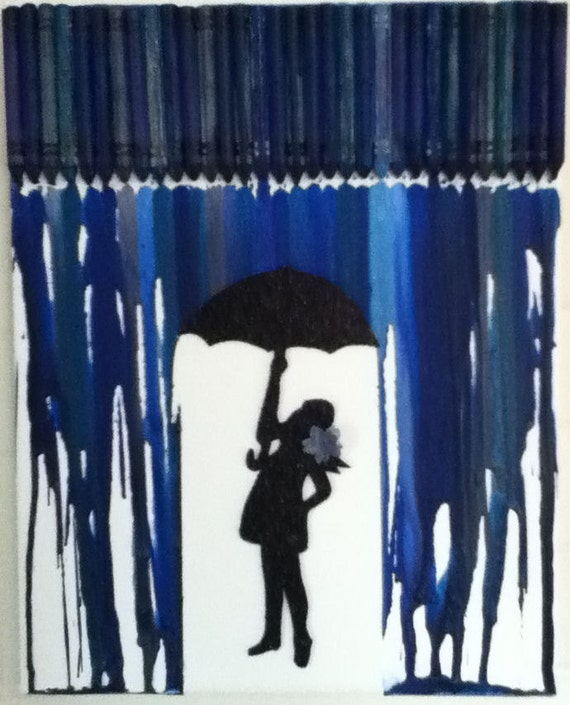 how to make melted crayon art with umbrella