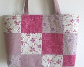 Large quilted pink Lecien floral square patchwork purse 10% off