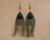 Peacock feather pierced earrings with green cats eye glass bead and topaz bicones. 5 inch length