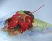 Leaf On A Rock Print of My Original Watercolor - Art Work - Fine Art - Illustration - GailsArtsAndCreation