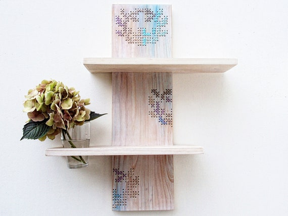 Two Tier Modern Shelf Cross Stitch Decor Whitewashed Reclaimed Wood