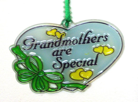 ORNAMENT - Grandmothers Are Special- Acrylic - Sky Blue - Green -Yellow- Handpainted Home Decor