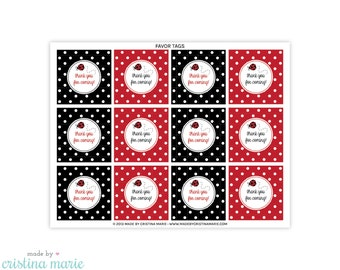 INSTANT DOWNLOAD, ladybug baby shower, ladybug party, printable favor tags, thank you tags