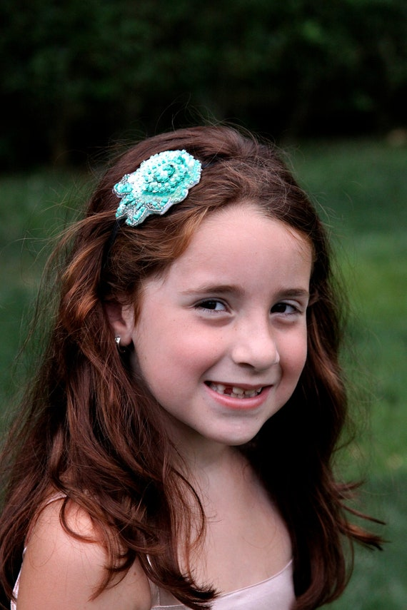 Back To School - Glittering Green Flower Headband  - (Hand Embroidered)