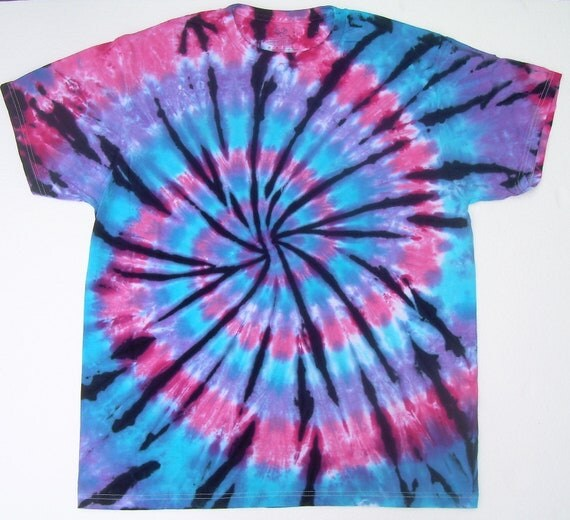 On sale adult large tie dye shirt pink purple blue spiral for Black and blue tie dye t shirts