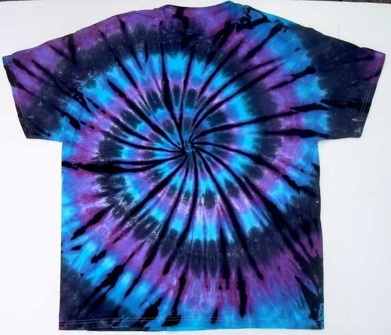 On sale adult xl tie dye shirt moon shadow spiral blue for Black and blue tie dye t shirts