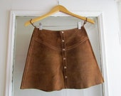 Raw Leather A-line skirt