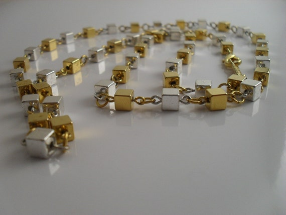 Napier Necklace Geometric Gold And Silver Tone Linked Squares 30 in Vintage c1970s