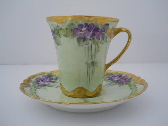 Haviland Limoges France Artist Signed Teacup Chocolate Cup c Early 1900s Estate Find