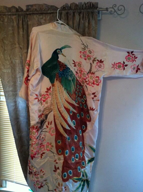 Vintage Silk Peacock Kimono
