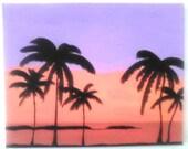 "16""x20"" Hawaii Sunset Acrylic Painting Canvas Art SAMPLE"