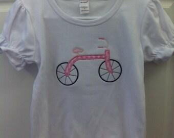 Girl's Bicycle Applique Ruffle Shirt