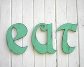 Wall letter eat sign wooden letter kitchen sign retro Vintage typography Shabby chic Primitive wall art decor letter signs wood letter signs