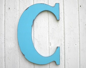 wooden letters bimini blue letter c monogram initial kids wall art shabby nursery large 18 inch letters