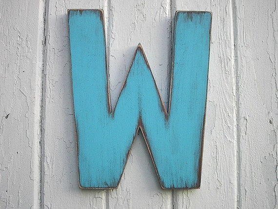 Wooden Letters 12 inch W Shabby chic Wall Art Rustic decor Distressed Blue Sign Big letters Nursery Kids Cabin Cottage Decor