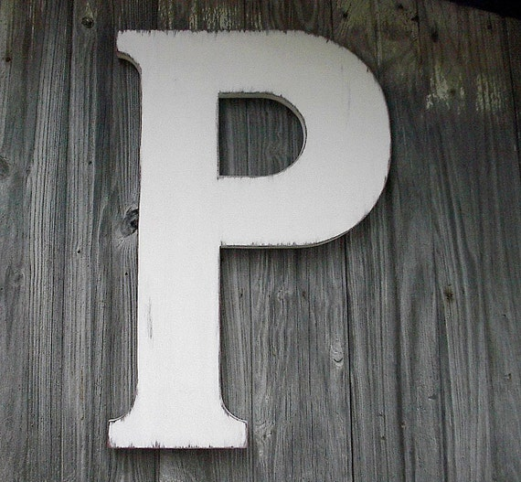 Wooden letters 24 p large distressed white letter guest for Large wooden letter p