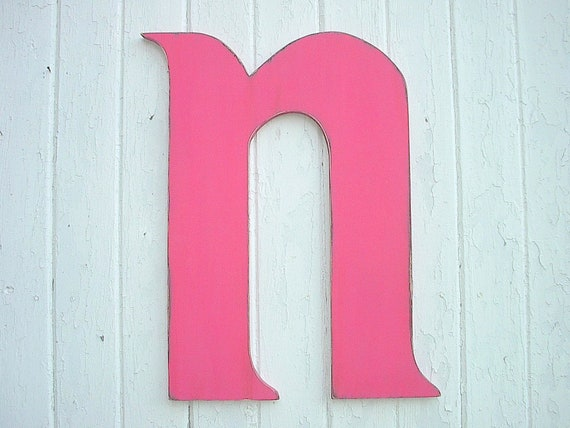 Kids wall decor art letters n wooden wall hanging for Letter n decorations