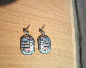 Vintage Earrings depicting a Lighthouse and Cottage Scene