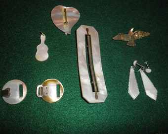 A Lot of Mother of Pearl including Buckles, Brooch, Earrings and Pendant
