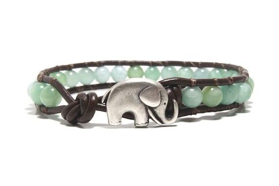 Light Blue Beaded Wrap Bracelet, Leather Wrap Bracelet