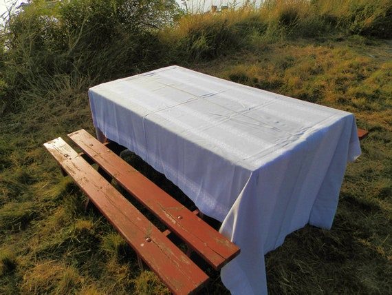 Large Vintage Danish Pale Grey and White Linen Table Cloth