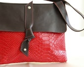 Women leather bag, tote bag, red brown color, shoulder bag