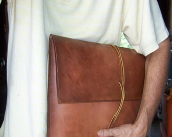 Large Document Case Folio Briefcase Alternative or Laptop Bag.  Full Grain Leather . Handmade in the USA.