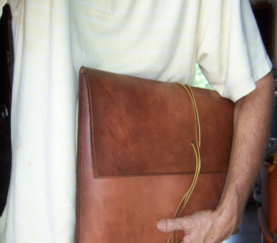 15 Inch Laptop Sleeve. U.S. tanned Full Grain Leather . Handmade in the USA.
