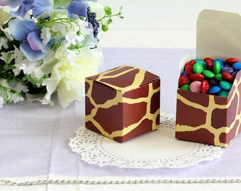 50x Giraffe Wedding Favor Cube Boxes-Bridal Shower-Baby Shower-Party Favor-Candy Gift Box 2x2x2