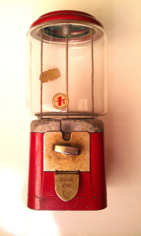 Vintage Antique Oak Acorn One Cent Gumball Machine