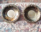 Antique Vintage candle holder saucers silver with beautiful antique design